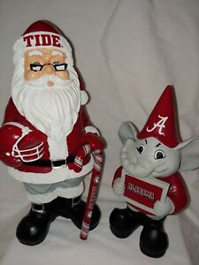 "NCAA Alabama Crimson Tide Statue Figurine Set Santa And ""Albie"" The Elf"
