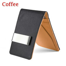 Fashion Men Black Leather Money Clip Slim ID Credit Card Holder Purse Wallet Coffee