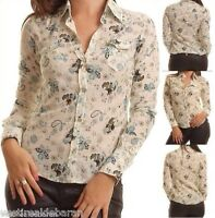 Camicia Donna Camicetta Leggera ZONA BRERA A736 Bianco/Verde Tg M veste piccolo