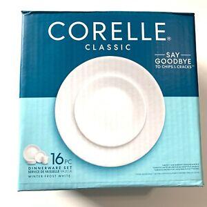 Corelle Livingware Dinnerware Set Glass Winter Frost White 16 pcs Service for 4