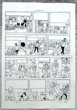 Hergé Tintin au Tibet Copie de Bleu d'imprimerie Planche 51 Format A4 Superbe !