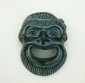 """SMALL METAL MASK w/ LEATHER HANGING STRING - 4 7/8"""" X 3 5/8"""" - EXCELLENT COND."""