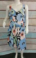 Calvin Klein Blue Black White Green Peach  Floral Pleated Sheath Dress Sz 8