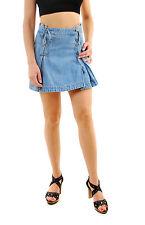 Free People Women's Lace Up Denim Mini Skirt Blue Size UK 8 RRP £62 BCF69