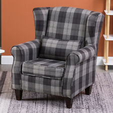 TARTAN CHECKED FABRIC LOUNGE CHAIR SOFA WING BACK FIRESIDE OCCASIONAL ARMCHAIR