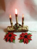Vintage Christmas Light - Yule Log & Candles Poinsettias - Electric