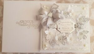 Wedding Card Personalised Large Handmade 8x8 inch 3D bespoke card and gift boxed