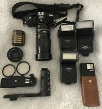 Vintage Nikon EM 35mm film camera 3 Lenses, 4 Flashes, 6 Filters, Motor Drive