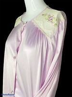 Vintage Lorraine Long Satin Robe Women's Medium Lace Embroidery Sissy PURPLE