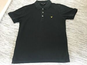 Lyle & Scott Black Polo T Shirt Top Medium M Mod