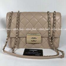 Auth Chanel Deauville 2 Medium Flap Nude Pink Leather Golden HW Shoulder Bag