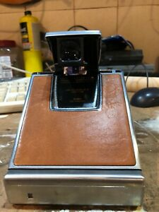 POLAROID SX-70 Land Chrome Brown Leather Camera and Case Vintage