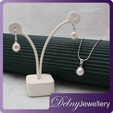 Brand New 925 Sliver Pearl Pendant and Earrings Set with Silver Chain Delny