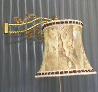 Wand Lampe Schwenkbar 1-fl.Leuchte Messing Leder Lampenschirm Brass Led Light