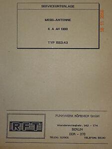 KAM 1300 Mess-Antenne,  Serviceunterlage, Schaltbilder, RFT / Funkwerk Köpenick