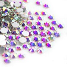 600Pcs 3D AB Color Nail Art Crystal Rhinestone Flat Bottom Multi-Size Studs Tips