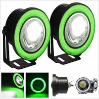 1 Pair Universal HID Ready Projector Fog Lights with Green Halo CCFL Angel Eyes