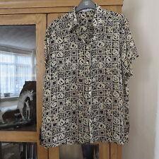 Jaeger, Black/beige blouse 36 bust, short sleeve, immaculate