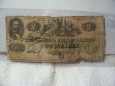 Authentic Confederate States America $2 Dollars Note Currency June 1862 Rarity 6