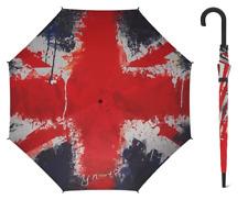 Union Jack Flag Paint Umbrella Hook Handle Automatic Windproof Fibreglass Ribs