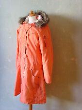 GSUS Sindustries Parka Mantel rosa lachs orange mit Blumenfutter Größe 40 L /T76