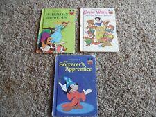 Vintage Disney Books Lot of 3 Peter Pan Snow White Sorcerer's Apprentice