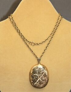 Victorian 9ct Yellow Gold Engraved Locket and Rope Chain   - Thames Hospice