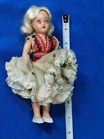 """1950s Storybook Doll 7"""" Hard Plastic VTG Jointed Arms Blonde Hair Polish World"""