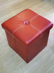 B FSOBEIIALEO Folding Storage Ottoman Vinyl Tufted -12 inch Cube -Red - Open Box