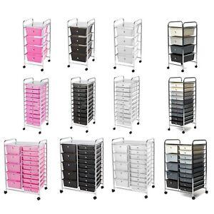 Storage Trolley On Wheels. 4 10 15 Drawers Home Office Salon Paper  Organiser