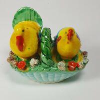 Vintage Japan Rooster Hen Basket Nest Salt Pepper Shaker Chicken Figurals
