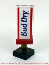 """1980s Bud Dry 6"""" Acrylic Tap Handle with chrome base Tavern Trove"""