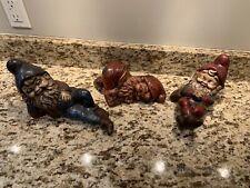 Set 3 Vintage Sleeping Garden Gnomes Figures Felt Pad Bottom Hand Painted Rare