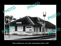 OLD LARGE HISTORIC PHOTO OF WARREN MINNESOTA, THE RAILROAD DEPOT c1960