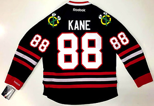 PATRICK KANE CHICAGO BLACKHAWKS BLACK REEBOK PREMIER JERSEY NEW WITH TAGS