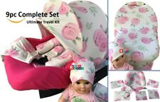 WHOLE CABOODLE CarSeat Canopy 9pc Set STRETCH Baby Car Seat Cover pink rosy NEW/