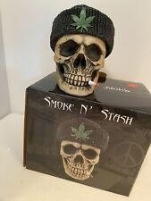 New Smoke N Stash Resin Skull - Pot Leaf Patch with Original Box