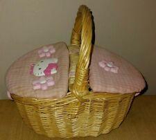 Hello Kitty Sanrio Wicker Basket Picnic pink Handbag Rare OOAK 1990s