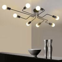 Industrial Edison Bulb Wrought Iron Large Semi Flush Ceiling Light in Black