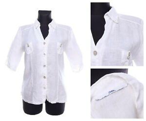 Women's BOTTEGA By Elisa Cavaletti White Linen V-neck Shirt Size M