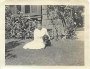 Dog Lady FOUND PHOTO Original BLACK & WHITE Portrait WOMAN Free Shipping D 99 11
