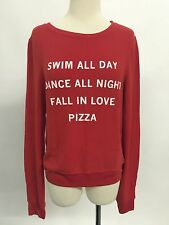 NWT Authentic Wildfox Couture PIZZA PARTY Baggy Beach Jumper XS RED