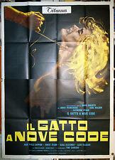 manifesto 4F film IL GATTO A NOVE CODE Dario Argento 1971 tipo A 9