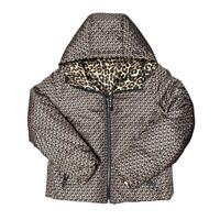 Michael Kors Reversible Leopard Quilted Puffer Coat Hooded Jacket Size Medium