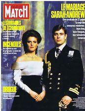 COUVERTURE DE MAGAZINE PARIS MATCH 1940 01/08/86 Sarah - Andrew le mariage