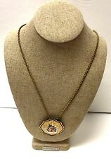 Vintage Signed REED & BARTON Damascene Fawn Deer Pendant Chain Necklace