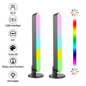 2Pcs WiFi LED RGB Atmosphere Strip Light Bar Music Sync Pickup Rhythm Lamp Light