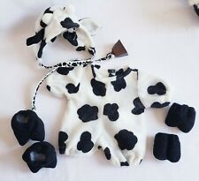 """6 Pc Cow Costume Outfit for 9"""" Bear or Doll Cowbell Tie Tender Heart Treasures"""