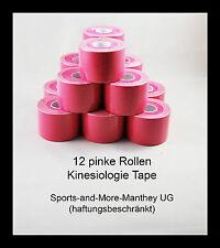 12 pinke Rollen Kinesiologie Tape 5 cm x 5 m Pink Physio Sport