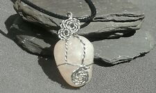 Handmade Natural Rose Quartz Crystal Gemstone Silver Wire Wrap Pendant with cord